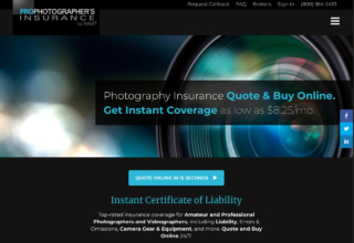 photographer insurance web application